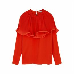 Stella McCartney Red Ruffle-trimmed Crepe De Chine Blouse