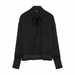 Balmain Black Semi-sheer Silk Blouse