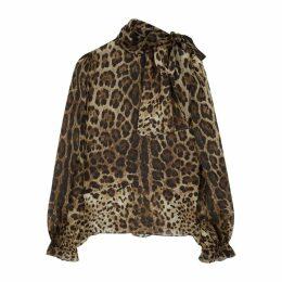Dolce & Gabbana Leopard-print Silk Blouse