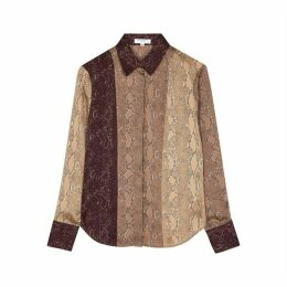 Equipment Yvonet Snake-print Brushed Satin Shirt