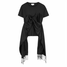 Collina Strada Black Scarf-embellished Cotton T-shirt