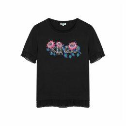 Kenzo Black Ruffled Cotton T-shirt