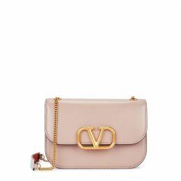 Valentino Garavani VLock Small Blush Leather Shoulder Bag