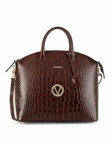 Bravia Croco-Embossed Leather Shoulder Bag