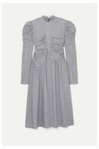 Wright Le Chapelain - Gathered Checked Cotton Midi Dress - Blue
