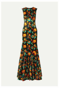 Caroline Constas - Allonia Fluted Floral-print Silk-blend Satin Gown - Black