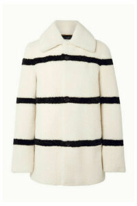 SAINT LAURENT - Striped Shearling Coat - Ivory