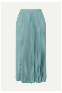 Joseph - Abbot Pleated Crepe De Chine Midi Skirt - Blue