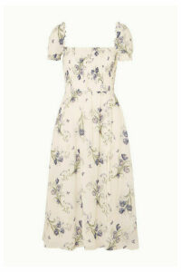 Reformation - Inka Smocked Floral-print Crepe De Chine Midi Dress - White