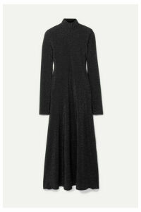 Rosetta Getty - Metallic Stretch-knit Turtleneck Midi Dress - Black