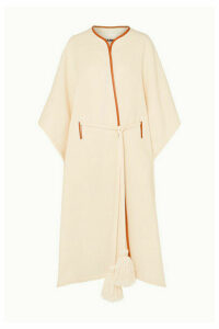 Jil Sander - Leather-trimmed Wool And Silk-blend Cape - Off-white