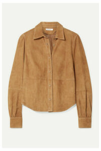 FRAME - Paneled Suede Shirt - Tan