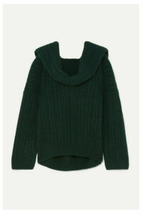 Jacquemus - Ahwa Draped Ribbed Wool-blend Sweater - Forest green