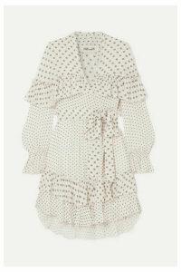 Diane von Furstenberg - Martina Ruffled Embroidered Georgette Wrap Dress - Ivory