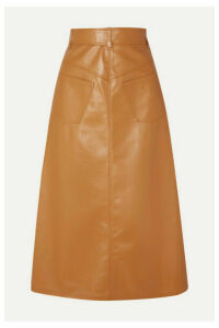 A.W.A.K.E. MODE - Faux Leather Midi Skirt - Camel