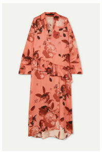 Mother of Pearl - Ruffled Floral-print Satin Midi Dress - Pink