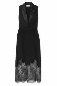 Self-Portrait - Lace And Satin-trimmed Crepe Maxi Dress - Black