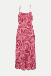 16ARLINGTON - Kate Printed Crepe De Chine Maxi Dress - Pink