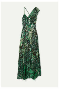 Alice + Olivia - Shanel Ruffled Printed Fil Coupé Chiffon Maxi Dress - Green