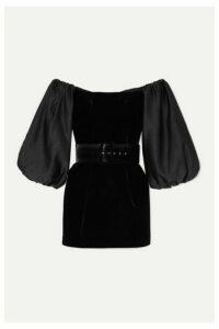 Rasario - Belted Satin-trimmed Velvet Mini Dress - Black