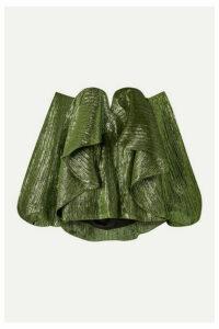 Halpern - Off-the-shoulder Ruffled Lurex Bustier Top - Green