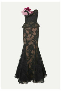 Marchesa - Strapless Appliquéd Corded Lace And Tulle Peplum Gown - Black