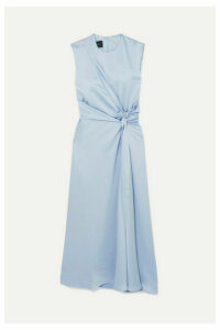 Cédric Charlier - Knotted Zip-detailed Satin Midi Dress - Gray