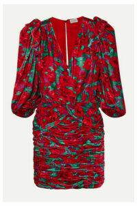 Magda Butrym - Mundo Ruched Floral-print Velvet Mini Dress - Red