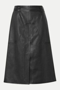 Courrèges - Belted Leather Skirt - Black