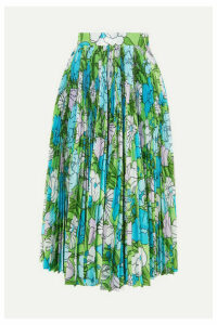 Richard Quinn - Pleated Floral-print Silk Midi Skirt - Blue