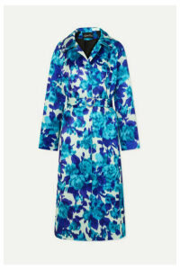Richard Quinn - Crystal-embellished Belted Floral-print Duchesse-satin Coat - Blue