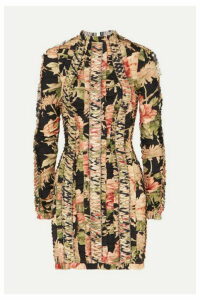 Zimmermann - Espionage Lace-up Floral-print Stretch-silk Mini Dress - Black