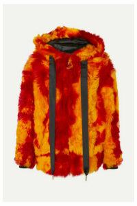Marques' Almeida - Hooded Printed Shearling Jacket - Orange