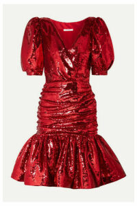 Rodarte - Ruched Sequined Crepe Mini Dress - Red