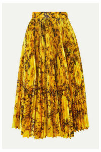 Richard Quinn - Pleated Floral-print Taffeta Midi Skirt - Yellow