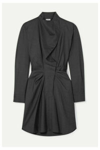 Isabel Marant Étoile - Valentine Ruched Prince Of Wales Checked Wool Mini Dress - Anthracite
