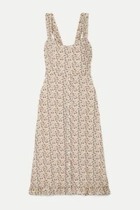 Faithfull The Brand - Yasmin Shirred Floral-print Crepe Midi Dress - Off-white