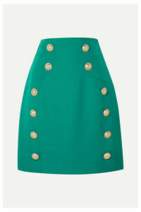 Balmain - Button-embellished Grain De Poudre Wool Mini Skirt - Green