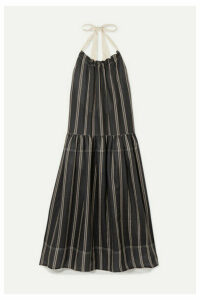 Lee Mathews - Granada Striped Ramie Halterneck Maxi Dress - Black