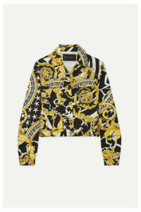 Versace - Cropped Printed Denim Jacket - Yellow
