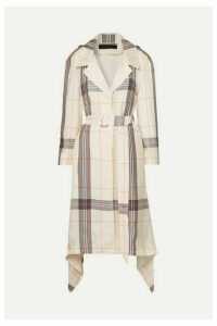 Roland Mouret - Victor Draped Checked Crepe De Chine Trench Coat - Ivory