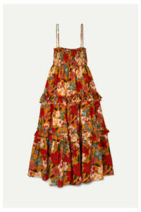 Nicholas - Ruffled Shirred Floral-print Cotton And Silk-blend Dress - Orange