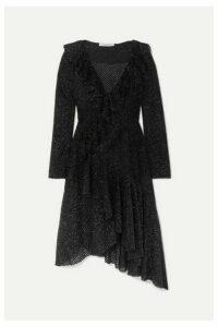 Philosophy di Lorenzo Serafini - Asymmetric Ruffled Metallic Knitted Dress - Black
