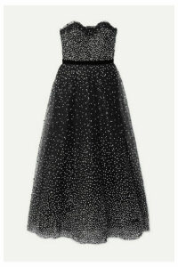 Marchesa - Strapless Velvet-trimmed Embellished Tulle Gown - Black