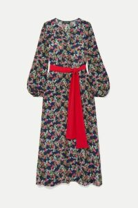 Saloni - Lucia Belted Printed Silk Crepe De Chine Maxi Dress - Navy