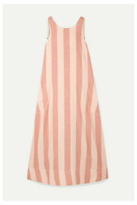 Lee Mathews - Sufi Striped Linen And Cotton-blend Voile Midi Dress - Blush