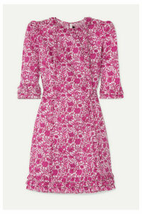 The Vampire's Wife - The Mini Cate Ruffled Floral-print Cotton-poplin Dress - Fuchsia