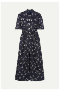 Alessandra Rich - Button-embellished Printed Silk-jacquard Maxi Dress - Blue