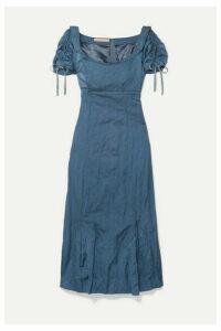 Brock Collection - Ruched Crinkled Matte-satin Midi Dress - Light blue