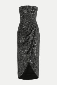 RASARIO - Strapless Draped Sequined Satin Dress - Gunmetal